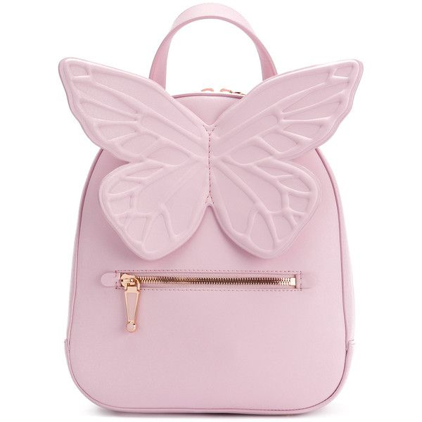 Sophia Webster butterfly backpack ($935) ❤ liked on Polyvore featuring bags, backpacks, day pack backpack, butterfly backpack, pink backpack, knapsack bag and pink bag
