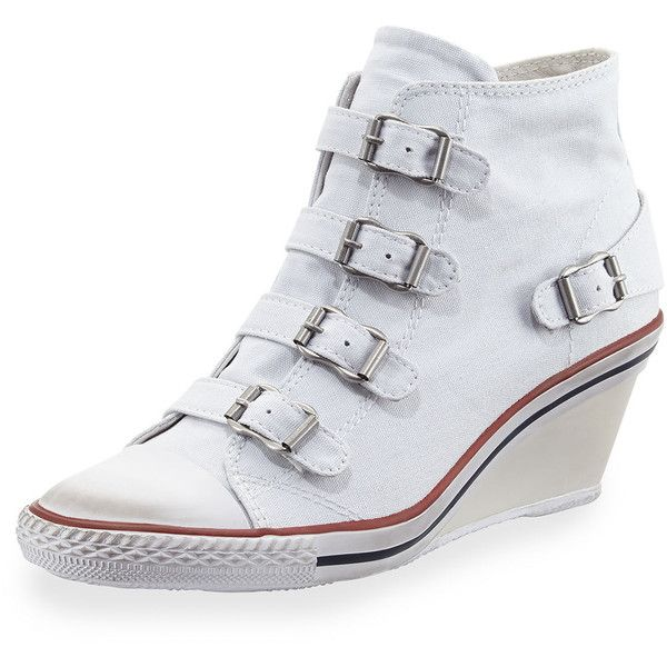 Ash Genialbis Buckled Wedge Sneaker (£59) ❤ liked on Polyvore featuring shoes, sneakers, white, embellished sneakers, white wedge sneakers, traction shoes, grip trainer and buckle shoes