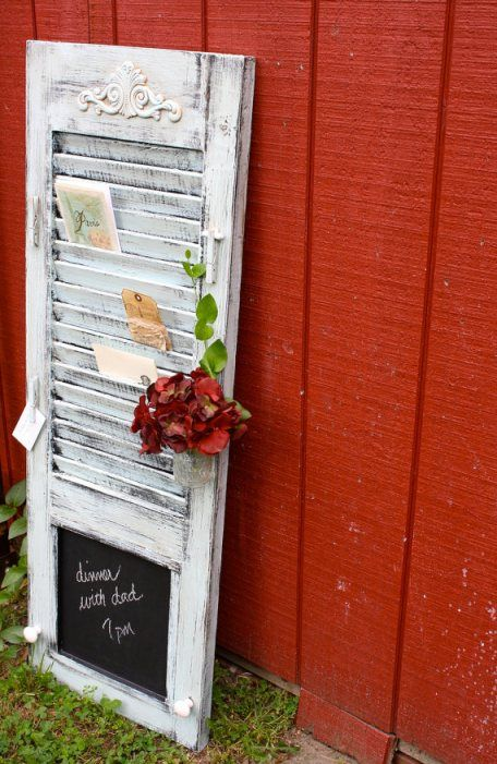 Cute idea for old shutters ~ 28 ways to repurpose old shutters
