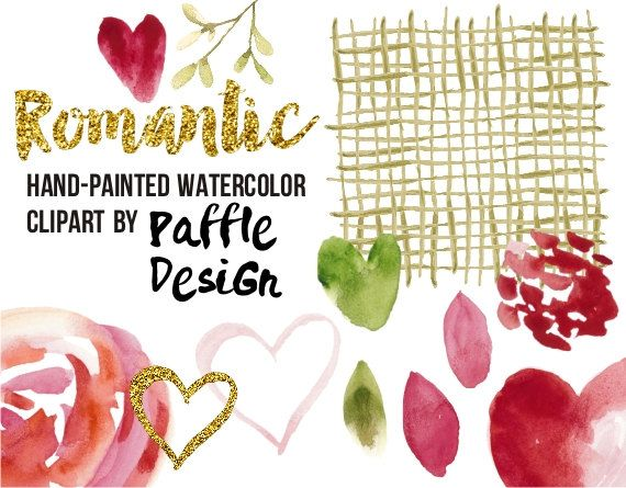 Romantic clip art with endless combinations, perfect for any kind of love theme craft projects such as Valentines Day, weddings, bridal shower invitations, save the date cards etc.  Hand-drawn romantic watercolor clipart set of 20 individual images such as hearts, confetti, leaves, blob, rose, berries, strokes in green, red and gold. Clipart images can be used for all kind of projects (announcements, invitations, planner insides etc.) by Paffle Design
