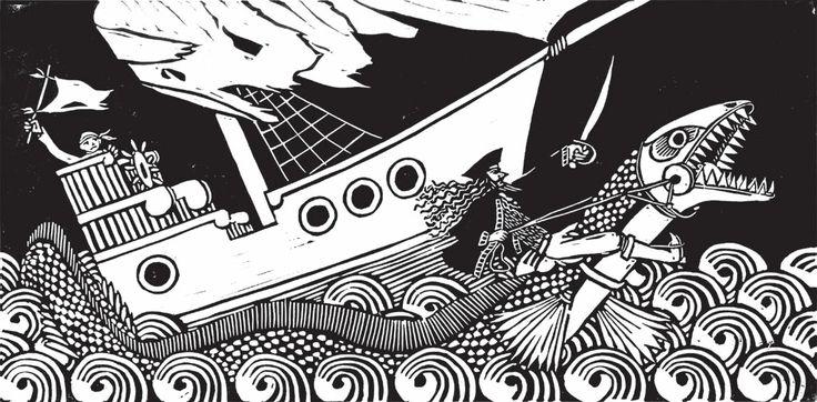 linocut illustration for the celtic band Oubéret