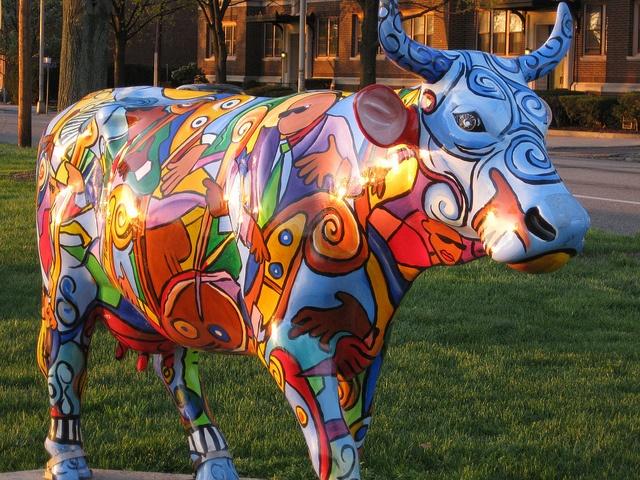 "Harrisburg, Pennsylvania - Cows on Parade 2004 - ""Music Cow Extravaganza"" - 152 life size fiberglass cow statues"
