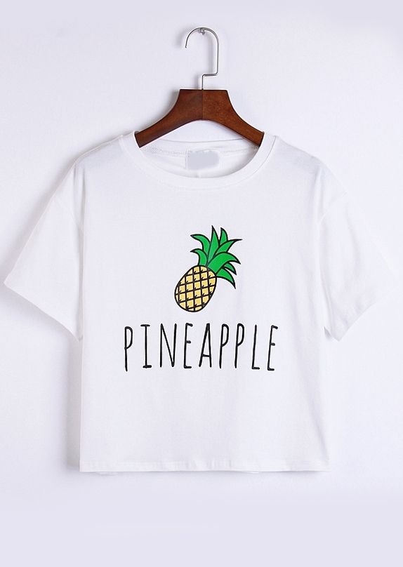 Pineapple Print White T-shirt 10.17
