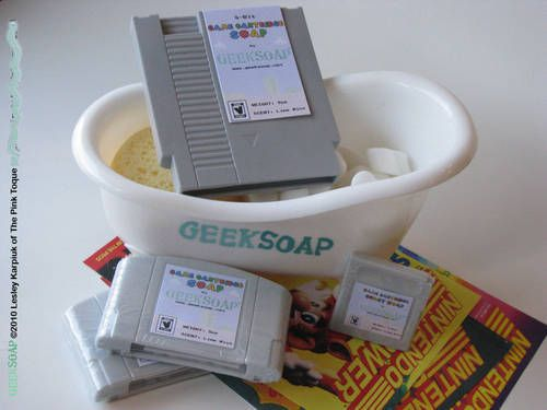 Soap that looks like old nintendo game cartriges.