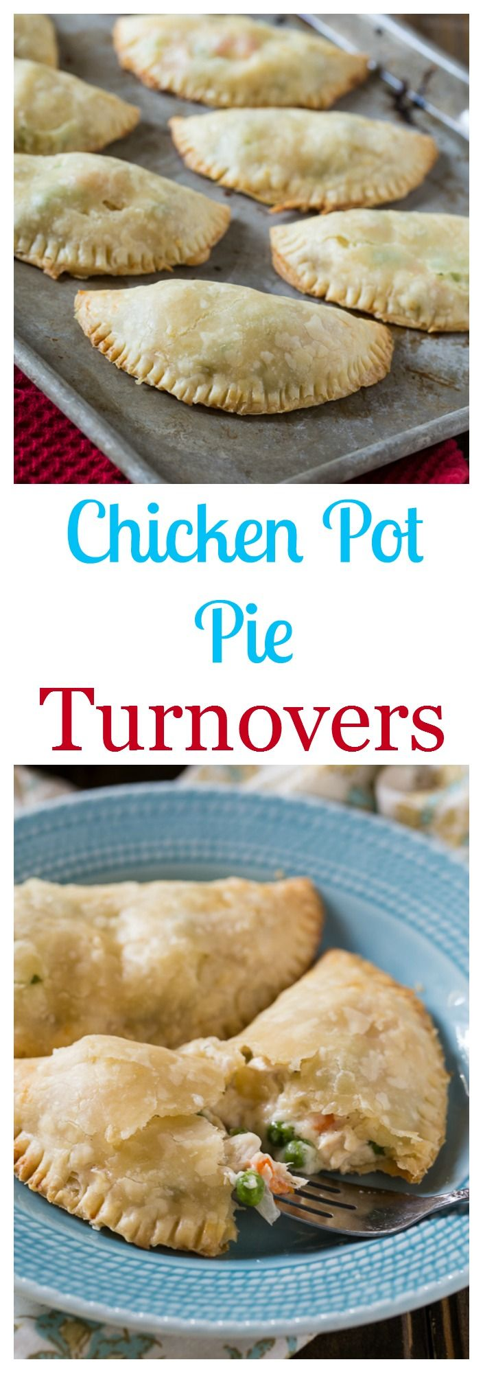 Easy Chicken Pot Pie Turnovers made with refrigerated pie crusts. Can also use leftover Thanksgiving turkey.