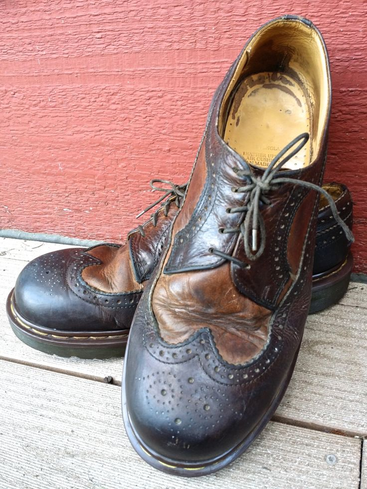 Doc Dr. Martens 3989 Brown Leather Two Tone Brogue Wingtip Oxford Men's Shoes UK 10 US 11 Made in England by cyanvintagegoods on Etsy