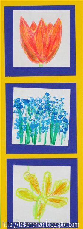 Tekenen en zo: Drie lentebloemen, drie materialen (wasco, verf, potlood)