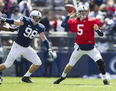 PENN STATE – FOOTBALL 2012 – Quarterback Tyler Ferguson gets a pass off during Penn State's Blue-White scrimmage.