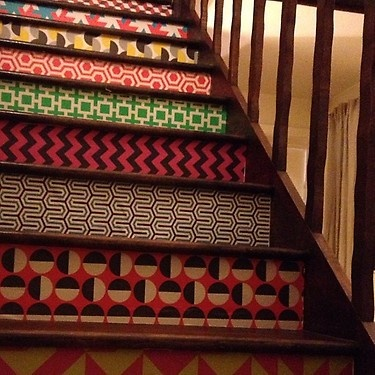 wallpapered stair risers.
