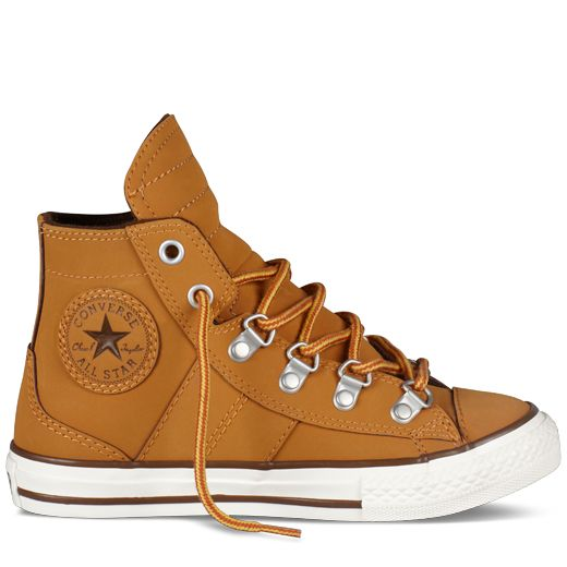 Converse - All Star Sneaker Boot (Kid 4-12 yr) - Hi - Brownie Tan  Love the eyelets!