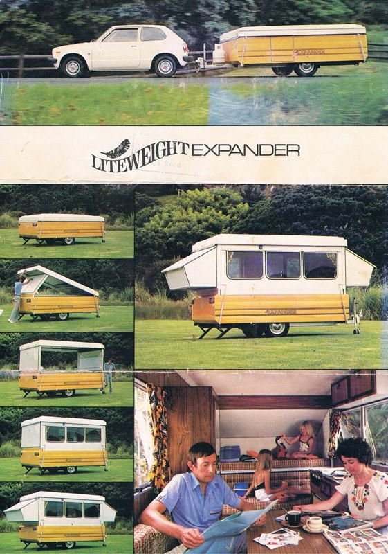 The original brochure for the 1979 Liteweight Expander (New Zealand). A very clever design, with folding, hard sides rather than the canvas sides seen in most pop-tops. As in the brochure, putting it up or down with just one person is fine.