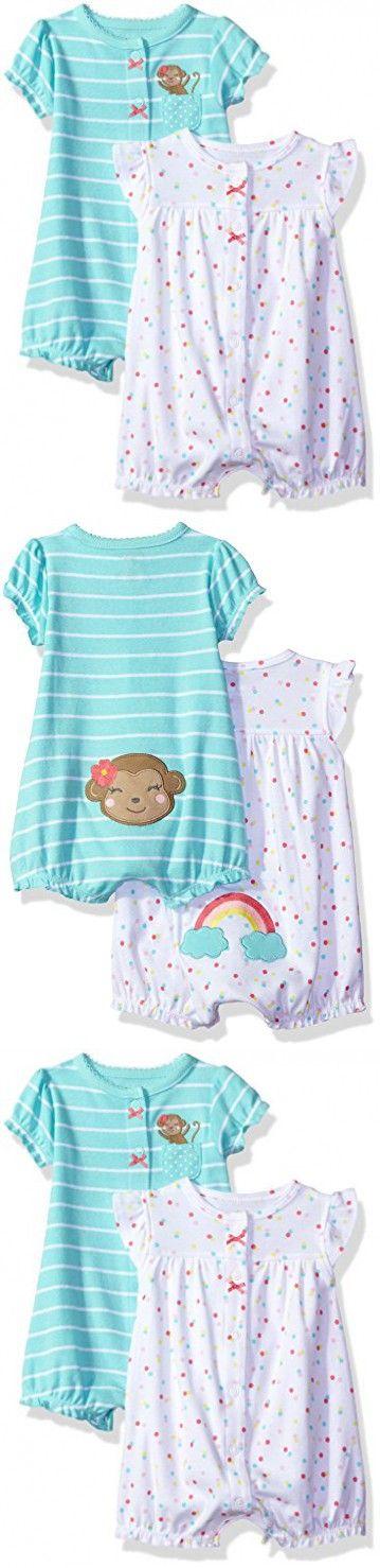 Carter's Baby Girls' 2-Pack Romper, Rainbow/Monkey, 9 Months