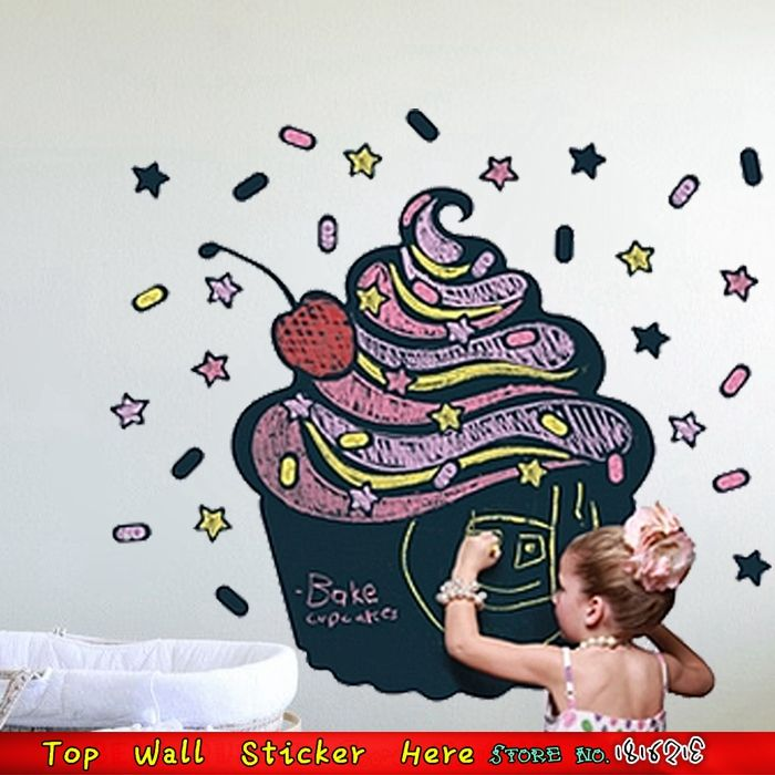 Large Cake Ice Cream Wall Decal Removable Chalkboard Blackboard Wall Stickers Nursery Kids Room Decoration Vinyl Wall Art Decals(China (Mainland))