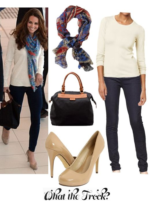 What the Frock? - Affordable Fashion Tips and Trends: Celebrity Look for Less: Kate Middleton Style    keep it simple - white tee, skinny jeans, heals, scarf