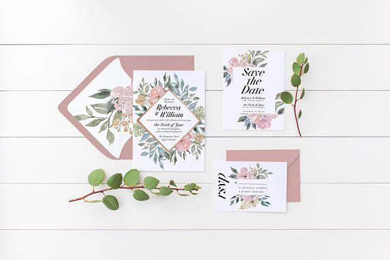 Floral Wedding Invitation Suite the Bethany Suite Elegant