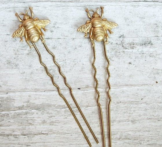 SALE bee keeper - golden honey bee hair pin set