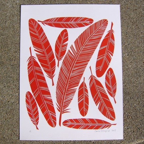 Simple collection of feathers. Try doodling this. Simply lovely use of lithography.