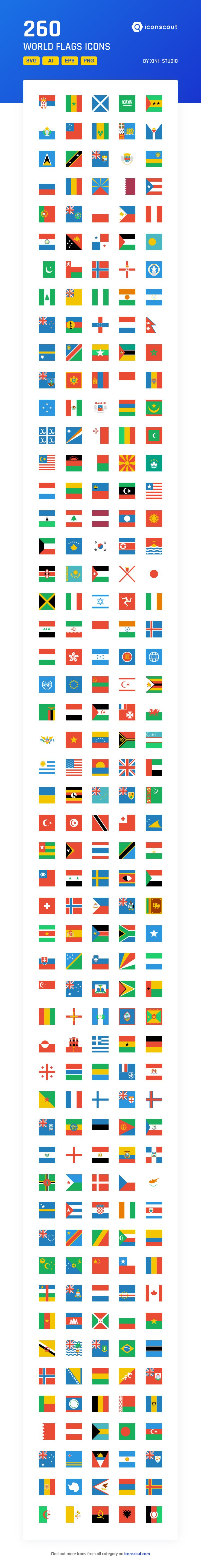 World Flags   Icon Pack - 260 Flat Icons