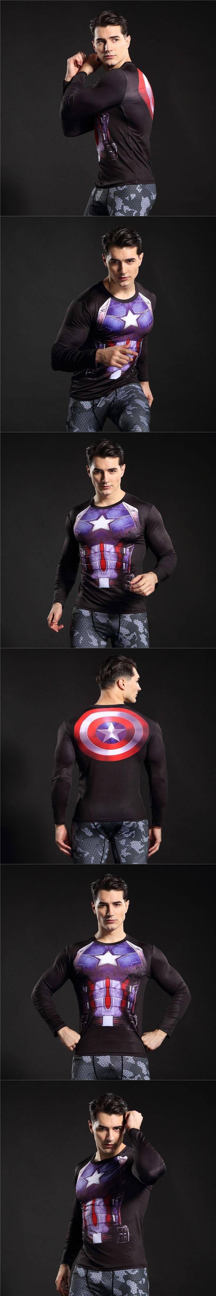 T Shirt Captain America Shield Civil War Tee 3D Printed T-shirts Men Marvel Avengers 3 iron man Fitness Clothing Male Tops C06
