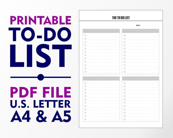 Simple To Do List A4 A5 and U.S. Letter Downloadable by vecprin