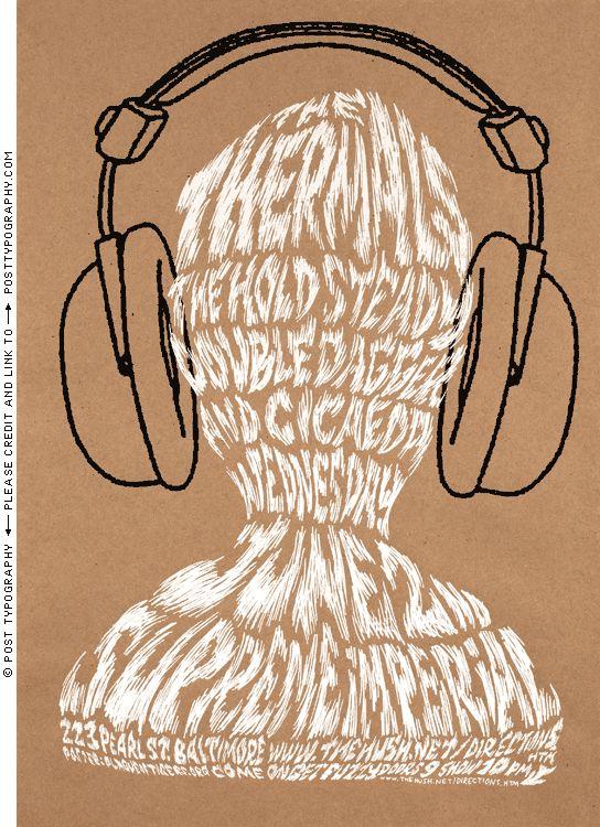The Thermals concert poster gigposter headphones hand-screenprinted silkscreen print kraft paper
