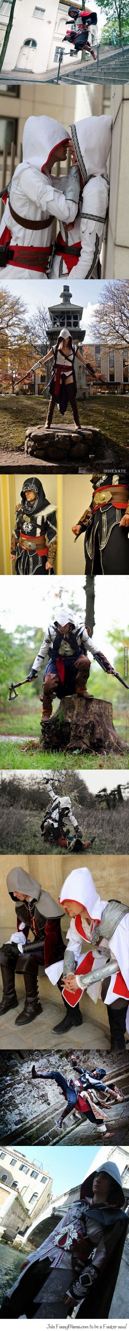 Some seriously awesome Assassins Creed Cosplay.  I want to make Connor's costume then walk around Colonial Williamsburg or Boston or New York :P