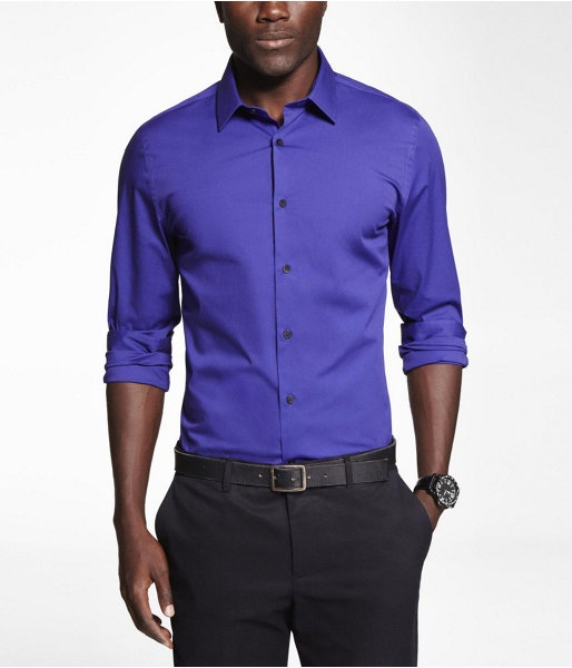 Express Mens Fitted 1Mx Stretch Cotton Shirt Grape, Small