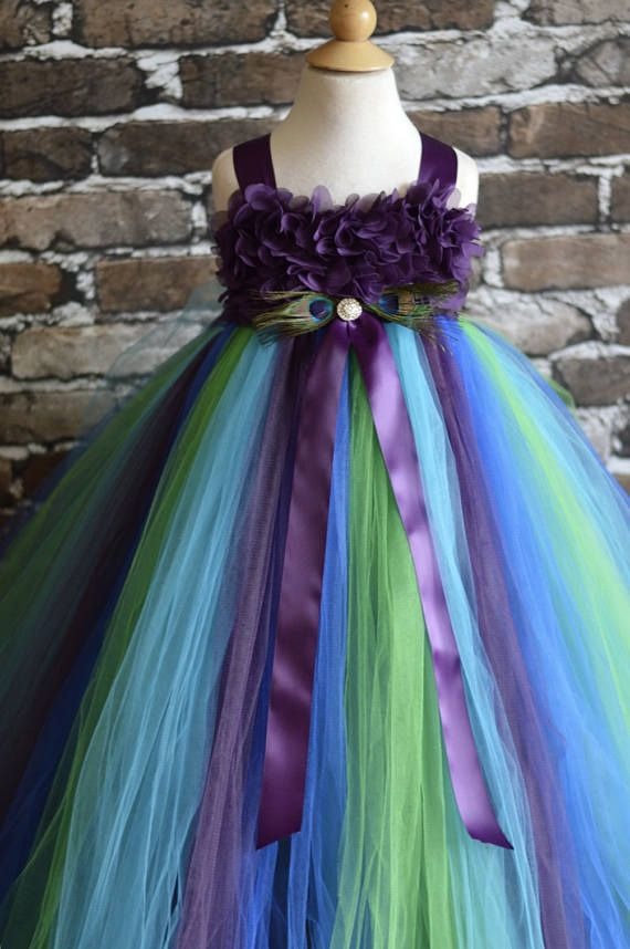 Plum chiffon Hydrangea Peacock flower girl dress
