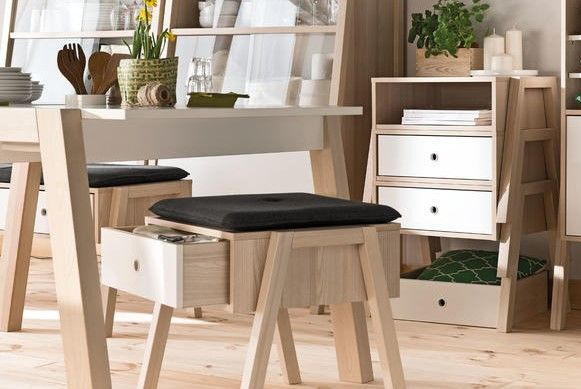 Voelkel Spot Collection, Stacking Stool with Drawer/Box. The stool serves equally as a seat or side table, and multiple stack to create a chest of drawers.