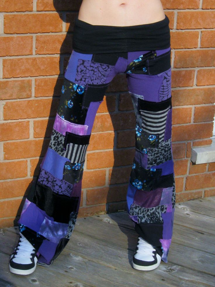 Patchwork Pants DIY Purple Black Yoga Pixie Hippie Hooping Clothes Handmade ooak #PixieSewL #CasualPants
