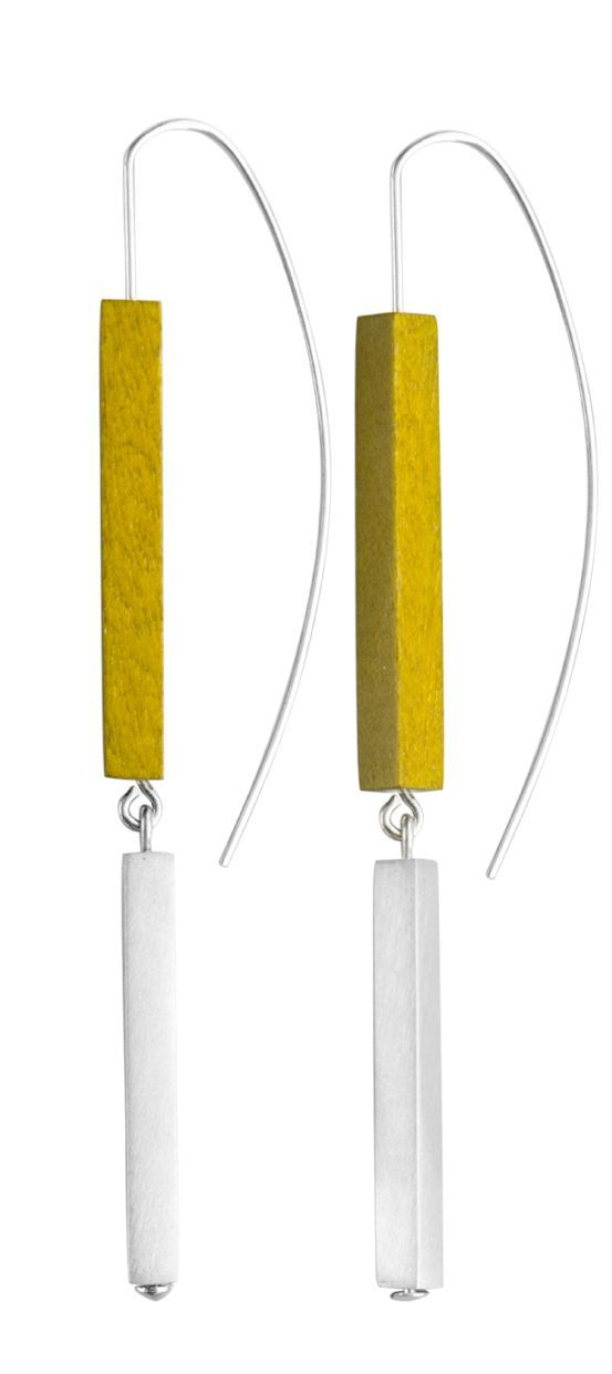 Nastya collection. Designed by Joid'art Lab. Slim rectangular sticks in coloured wood, metal or silver, juxtaposed upon each other. 2 finishes: matt rhodium-plated silver with blue/brown/mustard coloured wood; matt gold-plated metal with white/grey/black coloured wood. #arracades #pendientes #earrings #joidartSS14 #joidart #barcelona #joidartsunnydays #contemporaryjewelry #contemporaryjewellery: