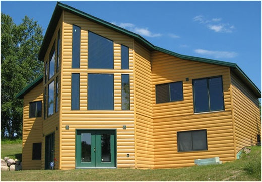 United States Seamless® -Northwoods Collection™ Log Cabin Seamless Steel Siding - Dark Natural