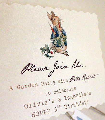 Peter Rabbit Birthday Party - invitation IMG_1076