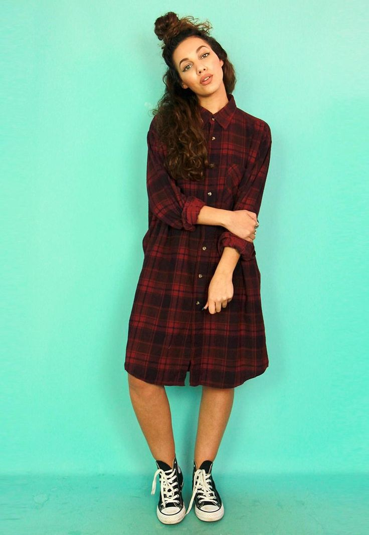 Maroon & Black Check Long Sleeved Flannel Shirt Dress | Bags 2 Bitches | ASOS Marketplace