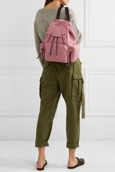 Burberry - Medium Mesh-trimmed Textured-leather Backpack - Pink - one size