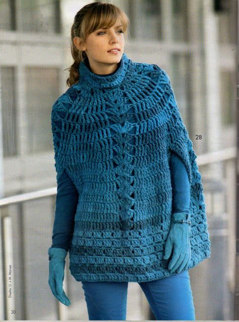 Crochê Tricô: Poncho em Crochê - Free pattern in Spanish but with diagrams!
