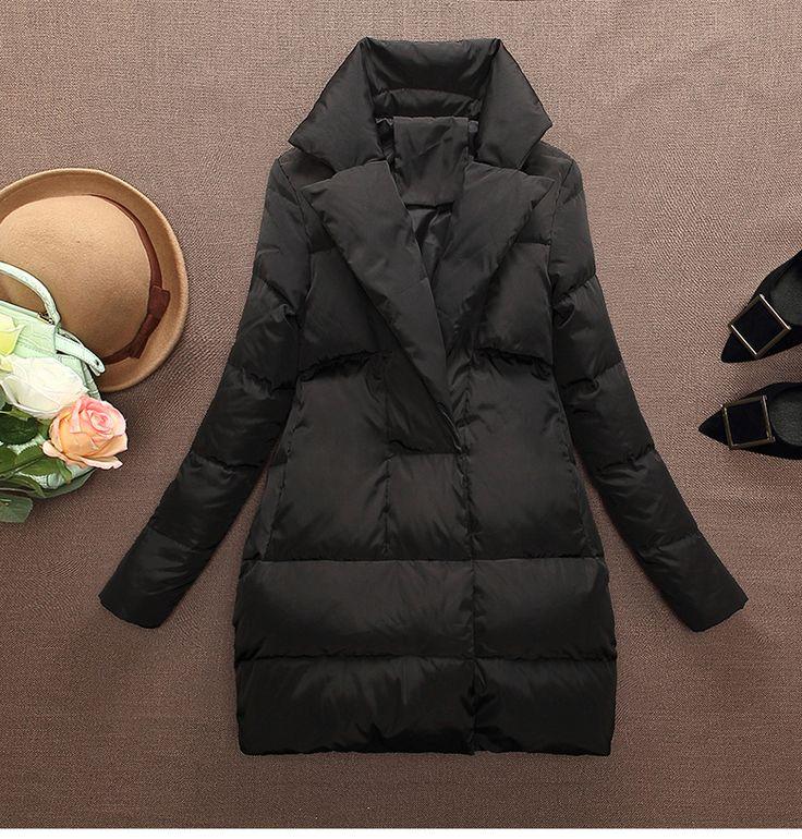 2016 женская верхняя одежда вниз пальто средней длины плюс размер 3XL женщины пуховик осенью и зимой куртка черный женский верхней одежды серый купить на AliExpress