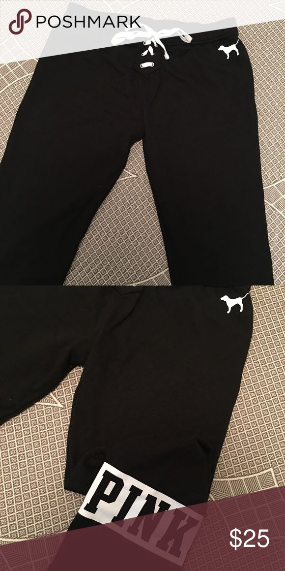 Victoria secret sweat pants! Only worn once! I'm pregnant & thought they might fit, they aren't heavy sweat pants very light on! & super cute PINK Victoria's Secret Pants Track Pants & Joggers