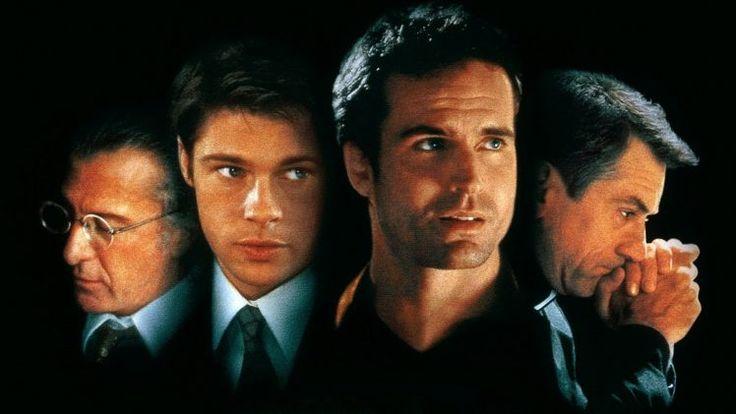 men, Actor, Movies, Legends, Robert DeNiro, Brad Pitt, Dustin Hoffman, Jason Patric, Movie Poster, Brothers, Law, Black Background, Priest, Sleepers, Face, Glasses, Suits, Tie HD Wallpaper Desktop Background