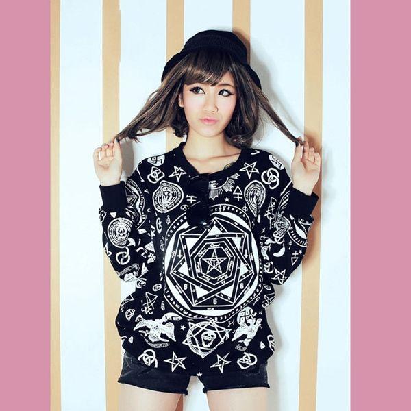 Pullover Cool Printing Long Sleeve Crewneck Sweatshirts For Women