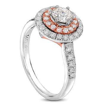 14ct rose and white gold double halo diamond ring