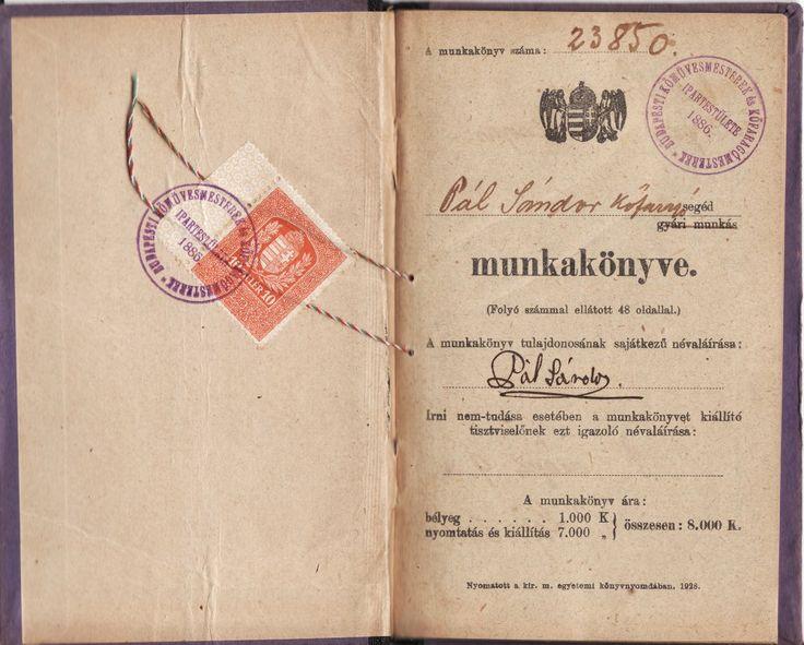 Munkakönyv 1928