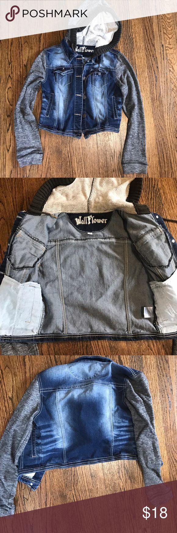 Hooded jean jacket EUC has only been worn a few times Wallflower Jackets & Coats