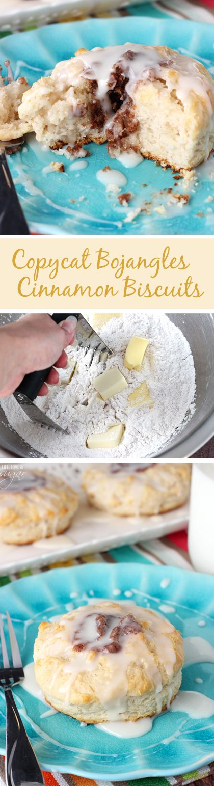 Copycat Bojangles Cinnamon Biscuits! Soft buttermilk biscuits with a cinnamon filling and vanilla glaze! Amazing!