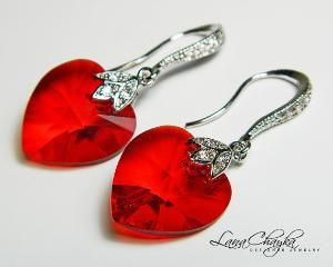 Red Valentine's Day earrings