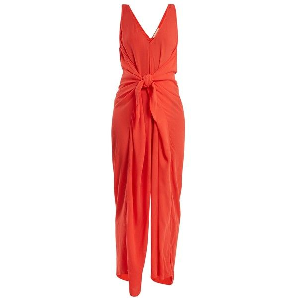 Mara Hoffman Muriel tie-waist jumpsuit (890 PEN) ❤ liked on Polyvore featuring jumpsuits, mara hoffman jumpsuit, mara hoffman, tie waist jumpsuit, red jumpsuit and coral jumpsuit