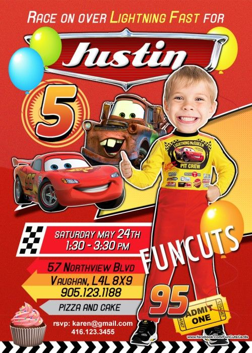 """Welcome to FunCuts Cards - Over 4500 invitations on other sites sold to date!  YOU WILL RECEIVE a 5"""" x 7"""" or 4"""" x 6"""" Disney Pixar Cars Invitation digital design invitation with a bonus FREE keepsake i"""