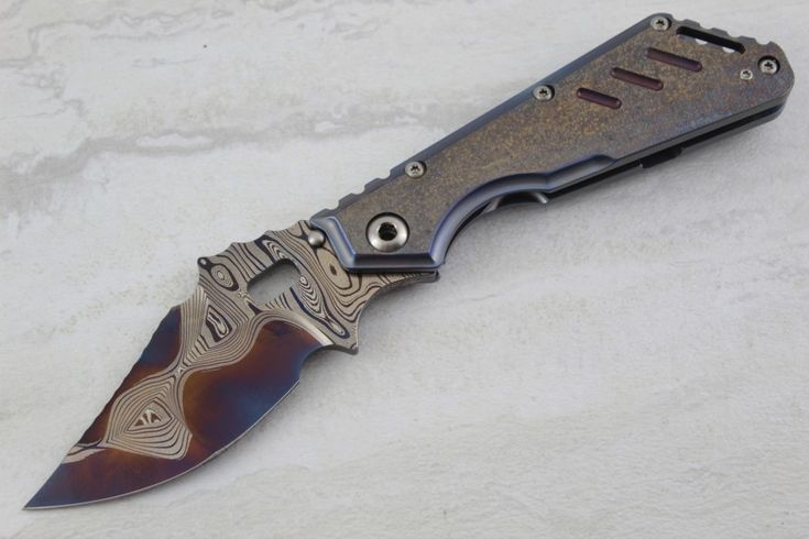 MSC XL One Off w/ Blued Damascus – Custom Knives For Sale   Custom Knife Buyer   TriCityCustomKnives.com  hunting knife   Bowie knife   camping knife   swiss army knife   spyderco   cold steel   benchmade   best pocket knife   edc knife   gerber folding knife   gerber pocket knife