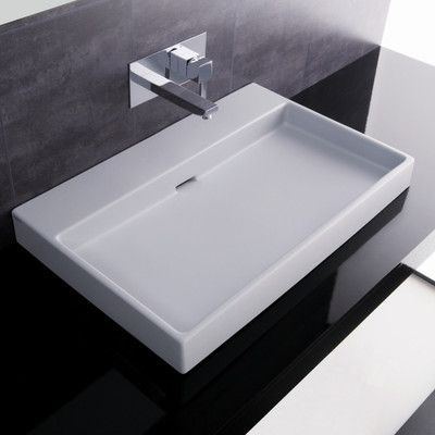 WS Bath Collections Ceramica I Urban Ceramic Ceramic Rectangular Vessel Bathroom Sink with Overflow Faucet Mount: No Hole