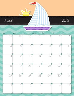 August printable calendar  http://imom.com/tools/get-organized/2013-printable-calendars/  #calendar